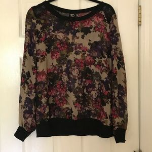 Sheer Black and Floral Design Blouse